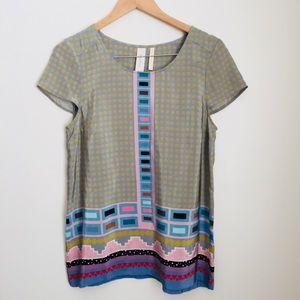 Heyhoe mixed print 100% silk shirt sleeve blouse